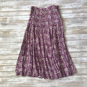 Liz Claiborne Purple & Cream Floral Maxi Skirt